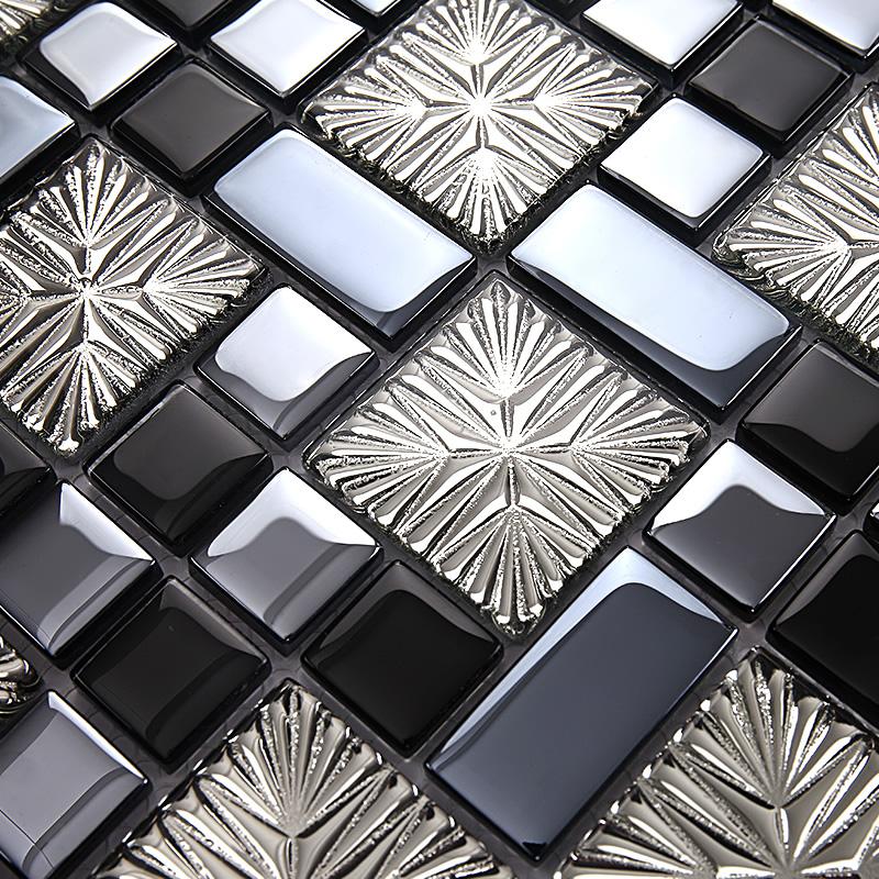 Blue Metal Coating Mosaic Tiles Art Design Tile Bedroom