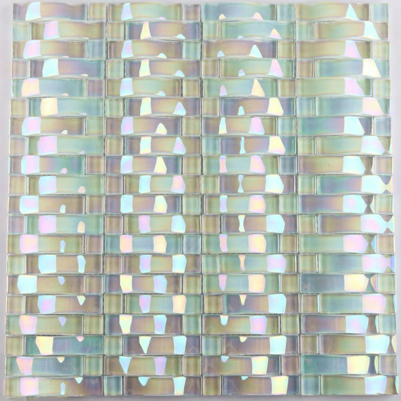 Glass Tiles For Kitchen: Iridescent Glass Mosaic Tile Sheets Arch Kitchen Mosaic