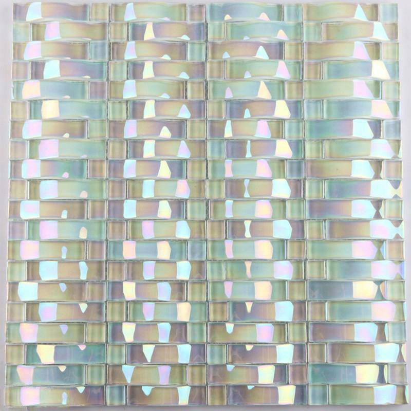 Iridescent Glass Mosaic Tile Sheets Arch Kitchen Backsplash Designs Interlocking Patterns Wall Tiles Decor Cgt89