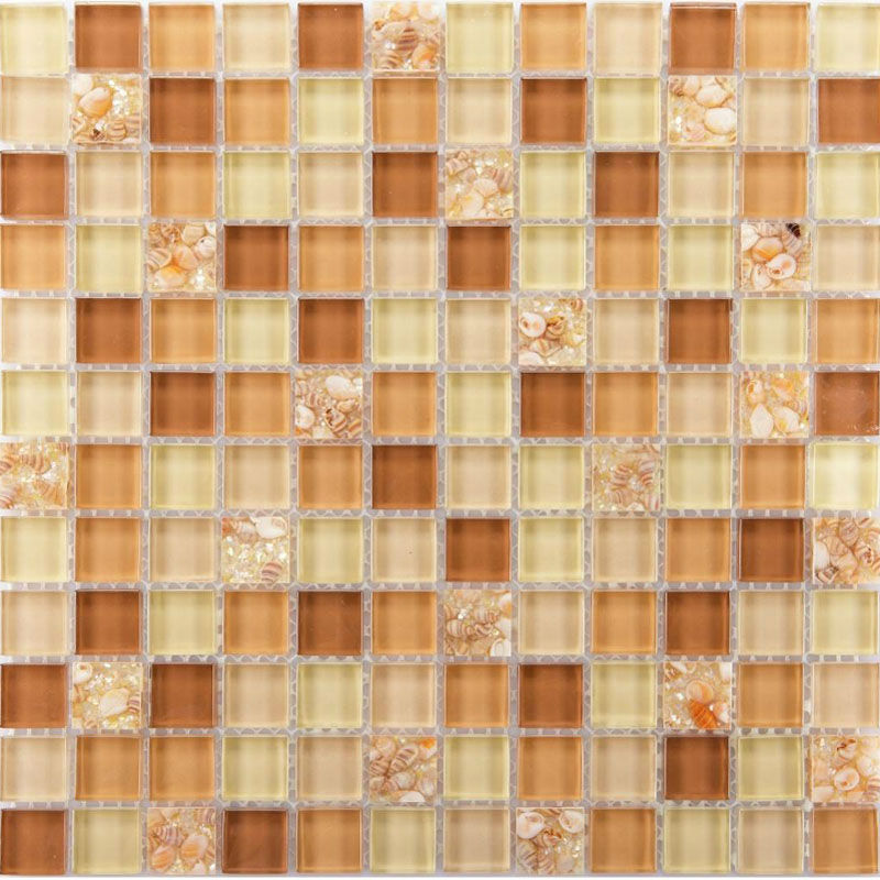 Brown Glass Tile Backsplash Ideas For Kitchen Walls Yellow Resin Chips With  Conch Mosaic Designs Bathroom ...