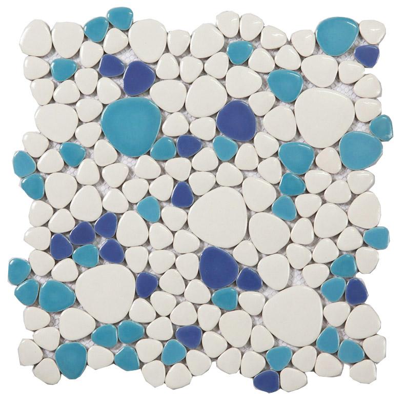 Glazed Porcelain Mosaic Pebble Tile Blue And White Ceramic