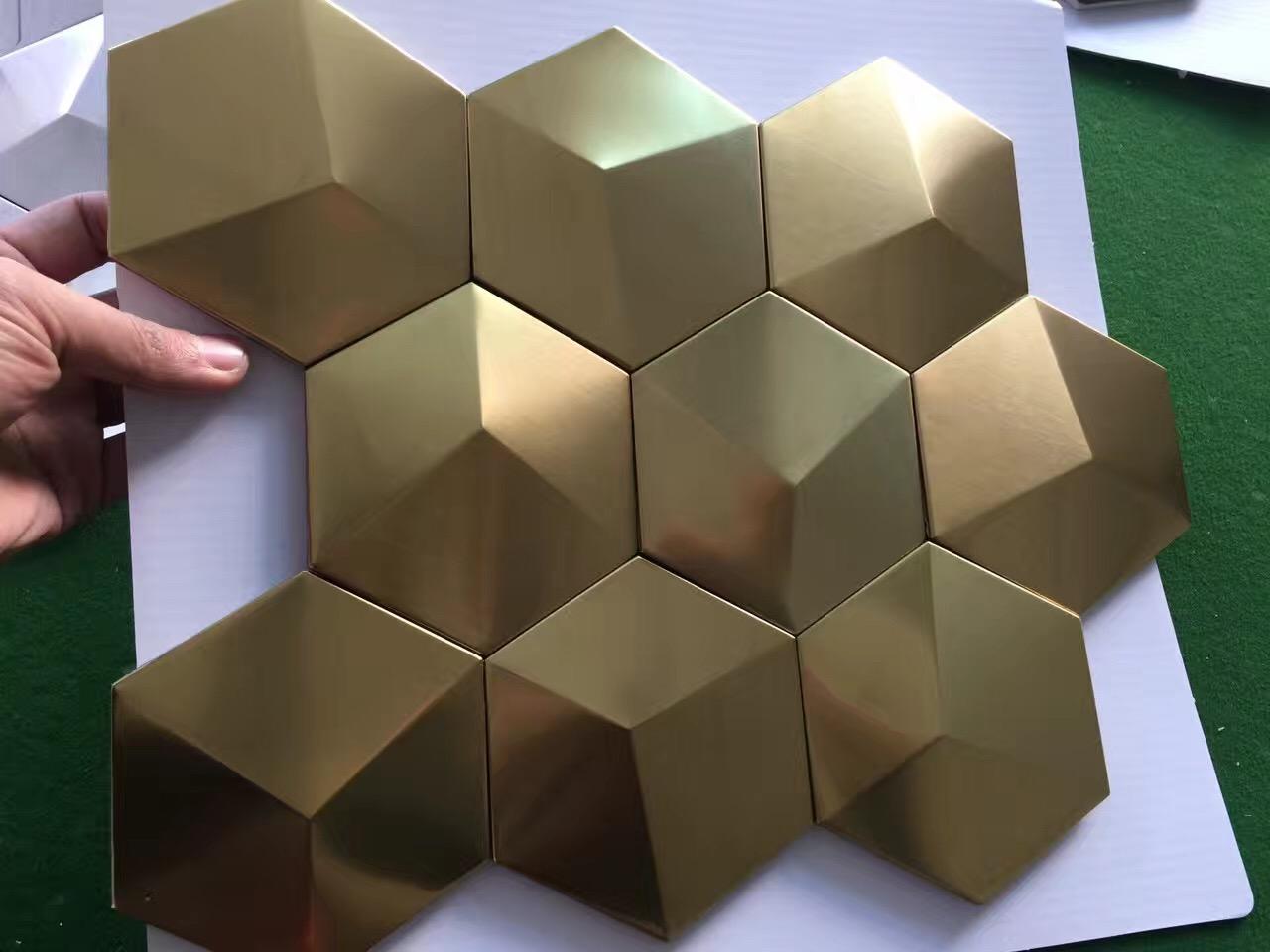 Ceramic Tile Murals For Kitchen Backsplash Gold Metal Mosaic Tile Stainless Steel Tile Pyramid
