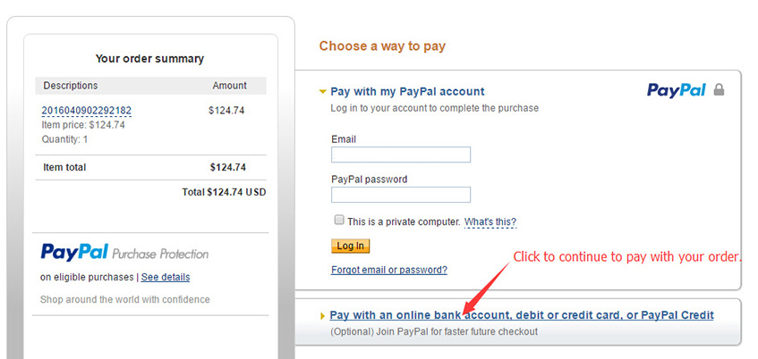 pay with credit card on paypal site